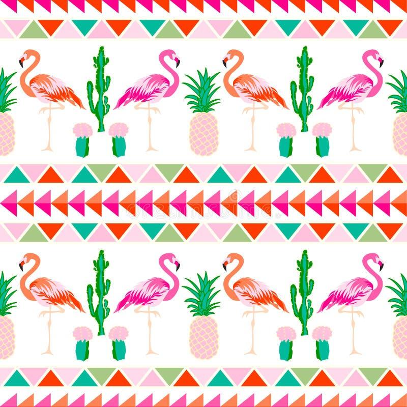 Flamingofågel med tropiska kaktus- och ananaslodisar royaltyfri illustrationer
