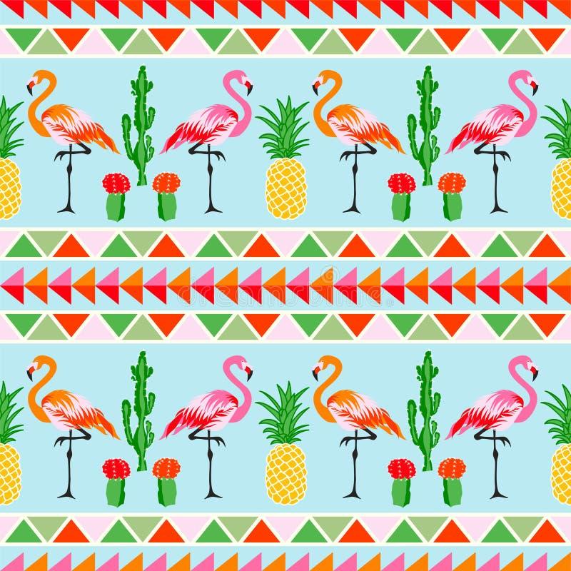 Flamingofågel med tropiska kaktus- och ananaslodisar stock illustrationer