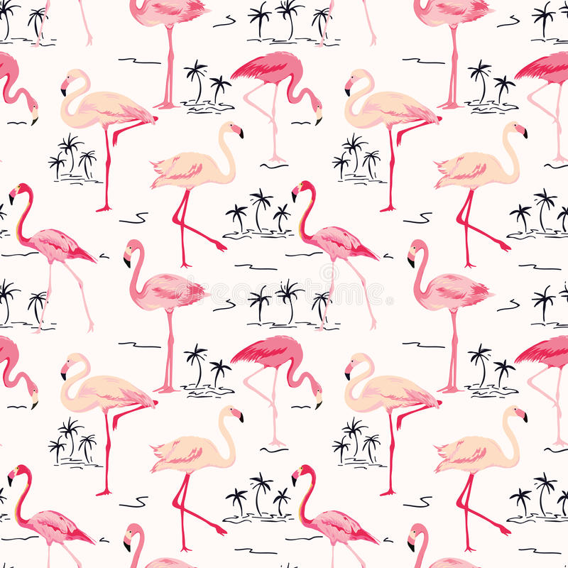 Flamingofågelbakgrund stock illustrationer