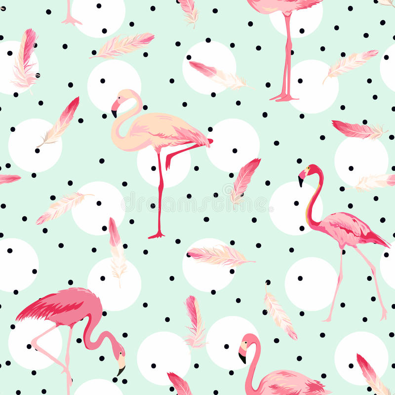 Flamingofågelbakgrund Flamingofjäderbakgrund stock illustrationer