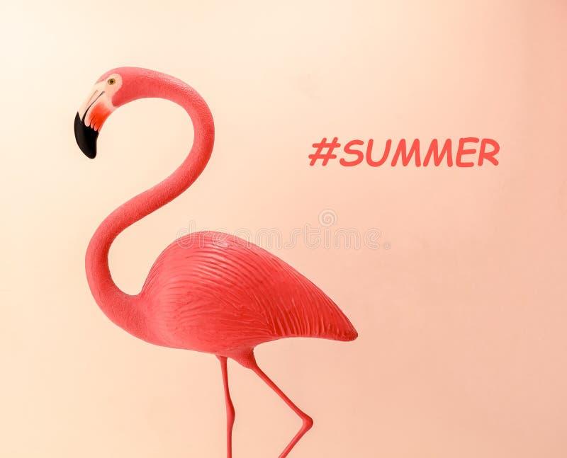 Flamingoform på bakgrund för korallfärglutning Plan lekmanna- minsta moderiktig sommarbegreppsorientering fotografering för bildbyråer
