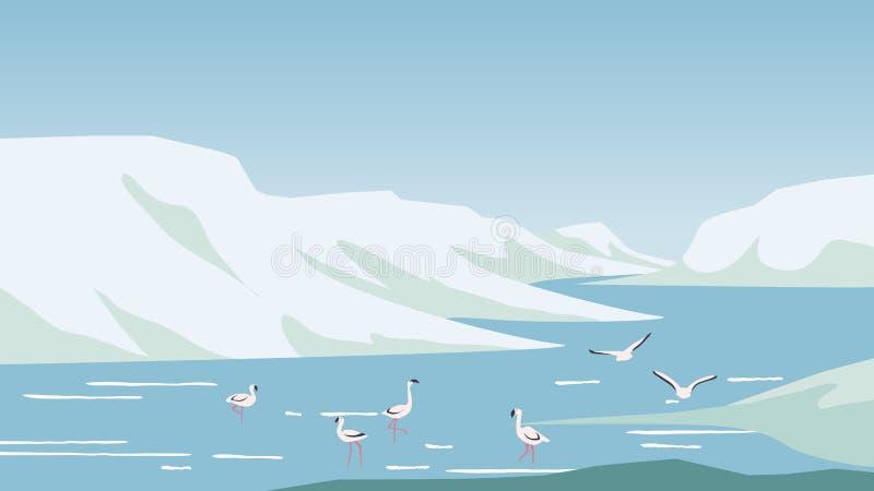 Flamingojagd und Entspannung im See gelegen zwischen Bergen stock abbildung