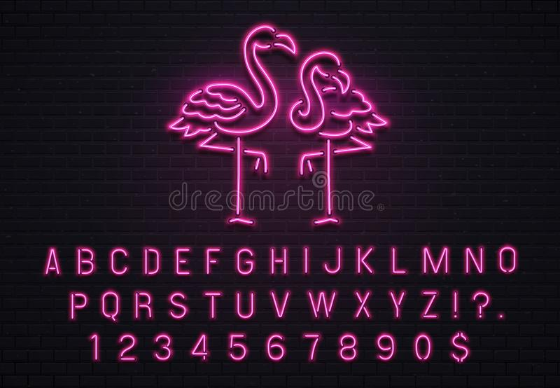 Flamingoleuchtreklame Rosa Guss 80s Tropische Stangenanschlagtafel des elektrischen Glühens der Flamingos mit purpurroter Glühlam stock abbildung