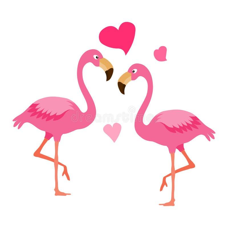 Flamingopar Exotisk fågelillustrationvektor Fågelpar vektor illustrationer