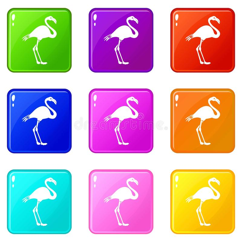 Flamingopictogrammen 9 reeks stock illustratie