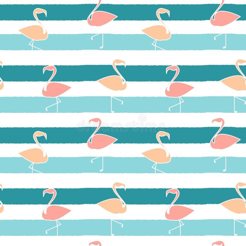 Flamingos bonitos na ilustração sem emenda do teste padrão do fundo das listras azuis ilustração royalty free