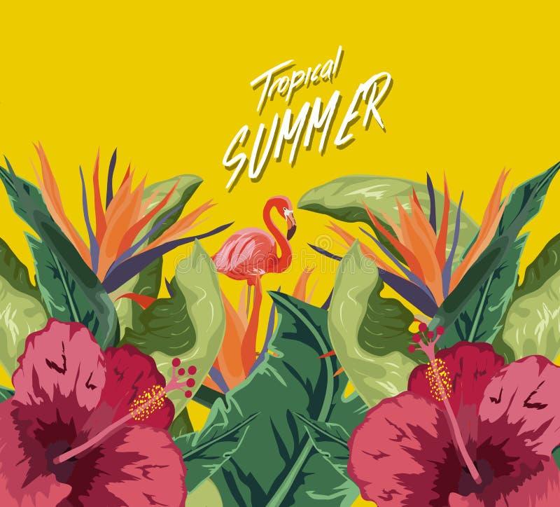 Flamingos cor-de-rosa, flores tropicais e folhas de palmeira Ilustração floral bonita isolada no fundo amarelo ilustração royalty free