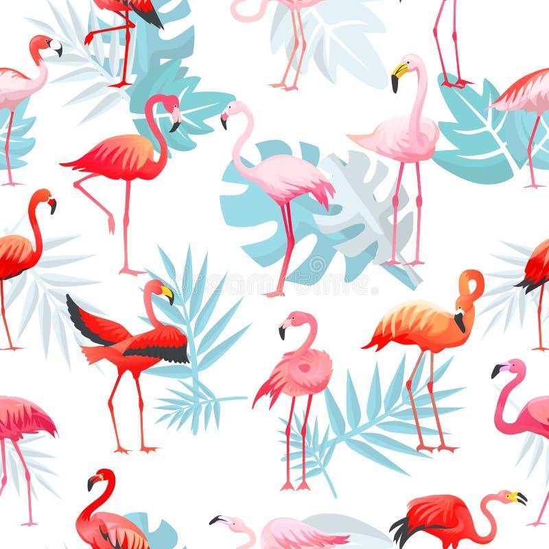 Flamingos cor-de-rosa tropicais do vetor do flamingo e pássaro exótico com o grupo da ilustração das folhas de palmeira de passar ilustração do vetor