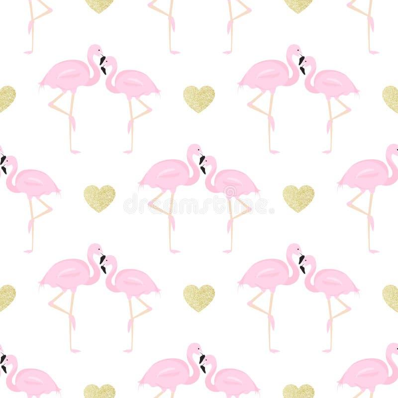 Flamingos dos pares e corações do brilho ilustração do vetor