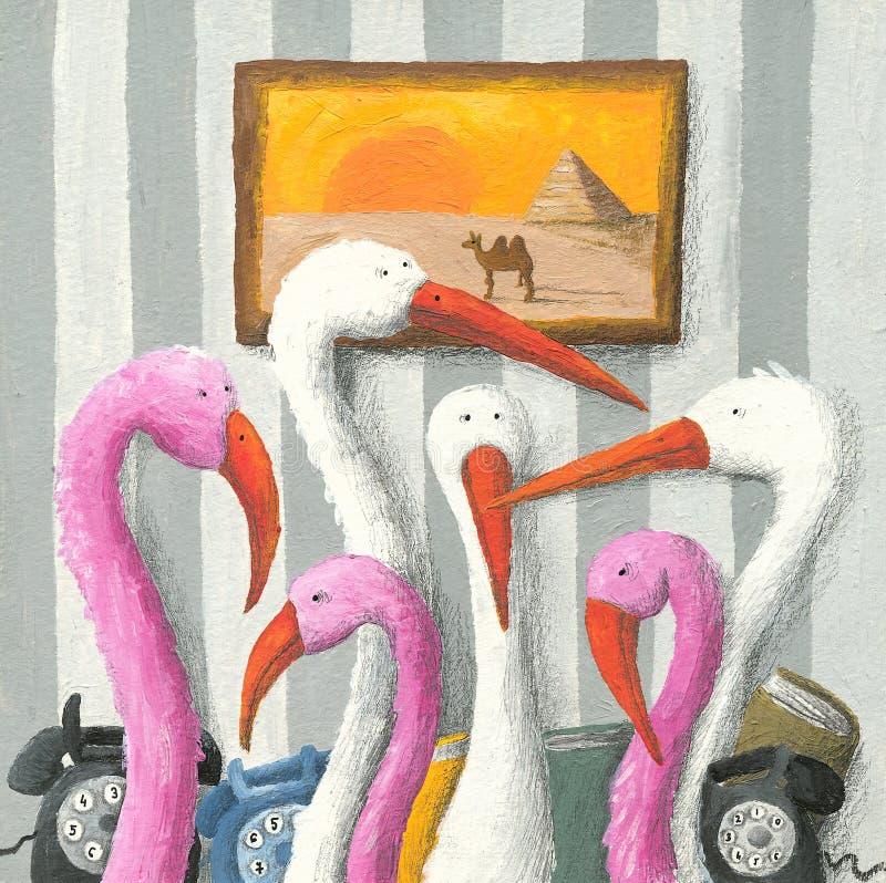 Flamingos in einem lustigen Büro vektor abbildung
