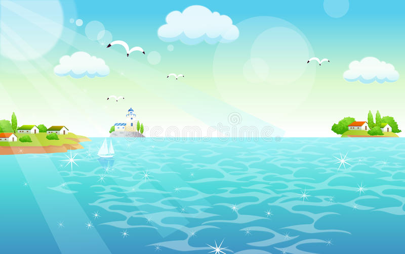 Flamingos Flying over the sea. There are shining sea and islands. Seagulls are flying on the sky stock illustration