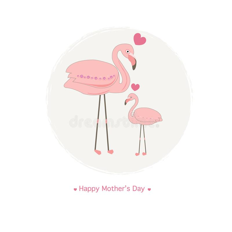 Flamingos. Mother flamingo and baby flamingo.Mother`s day greeting card stock illustration