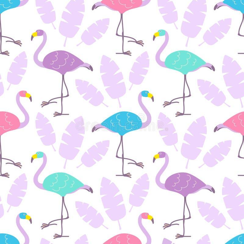 Flamingos multicoloridos dos desenhos animados bonitos e folhas tropicais cor-de-rosa isolados no fundo branco Vector o teste pad ilustração do vetor