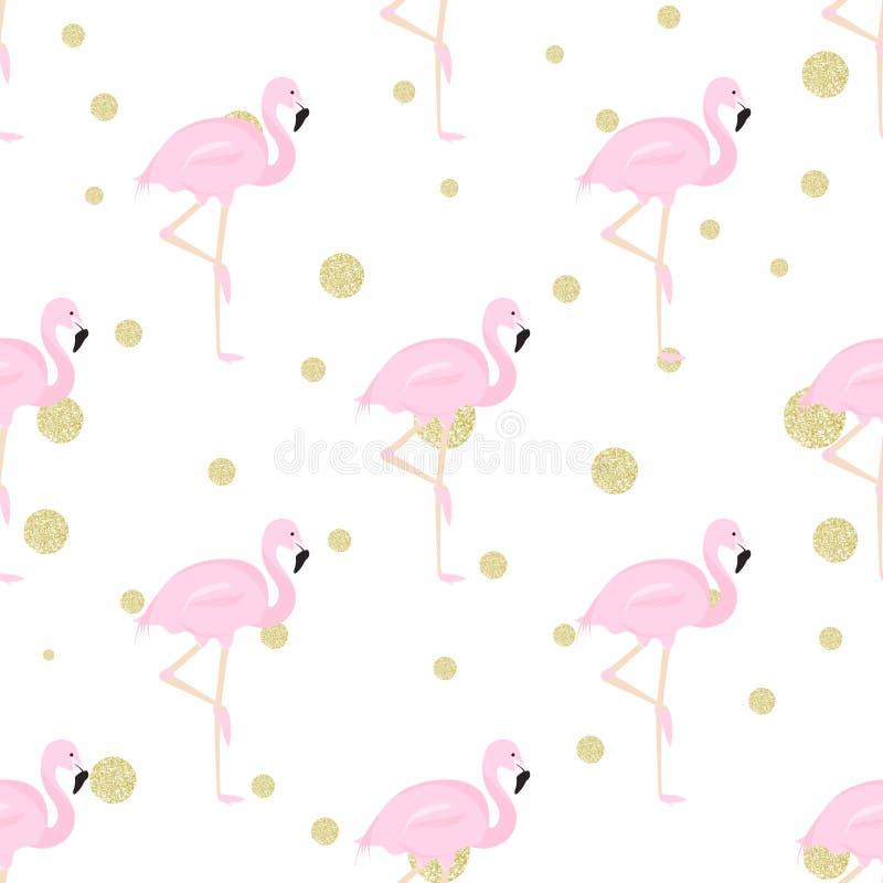 Flamingos and polka dot. Seamless background with flamingos and gold glitter polka dot stock illustration