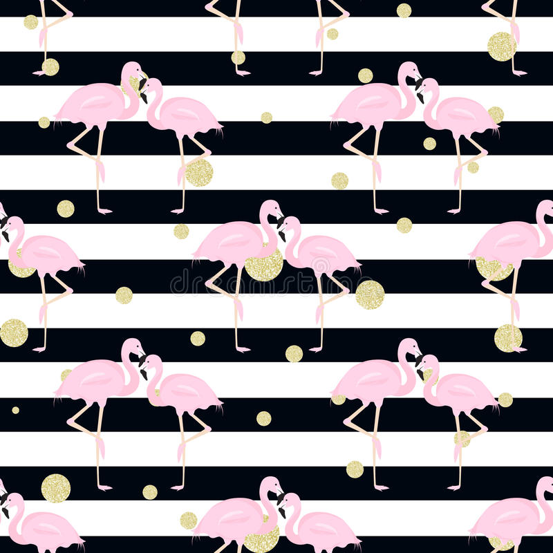 Flamingos, polka dots. stripes stock illustration