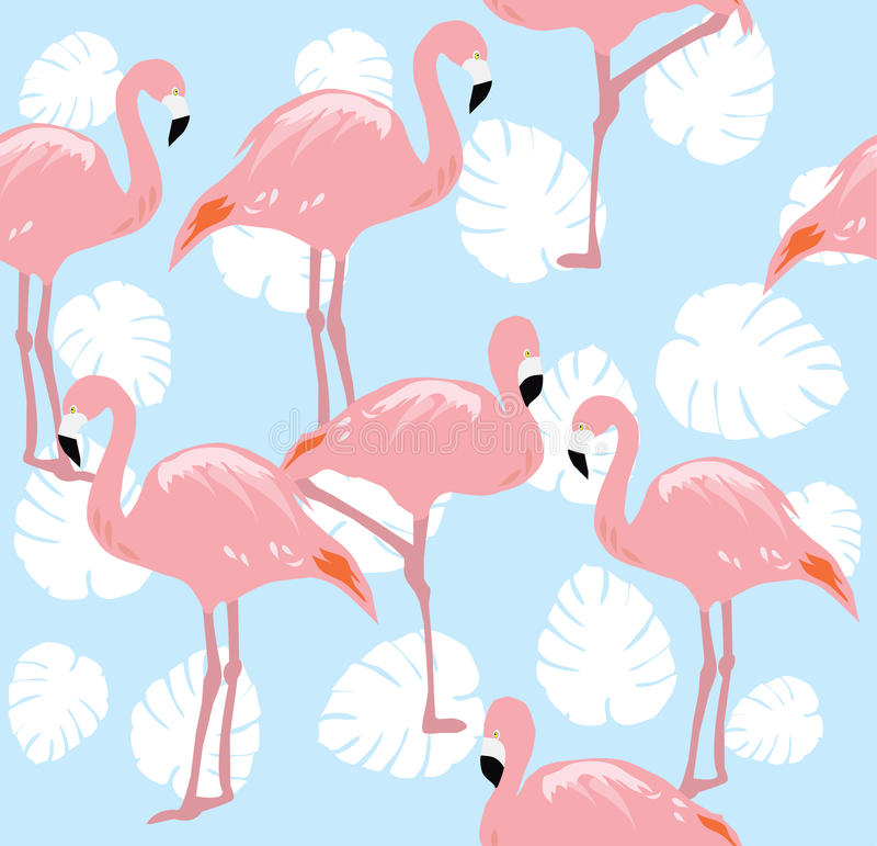 Flamingos Seamless Background stock illustration
