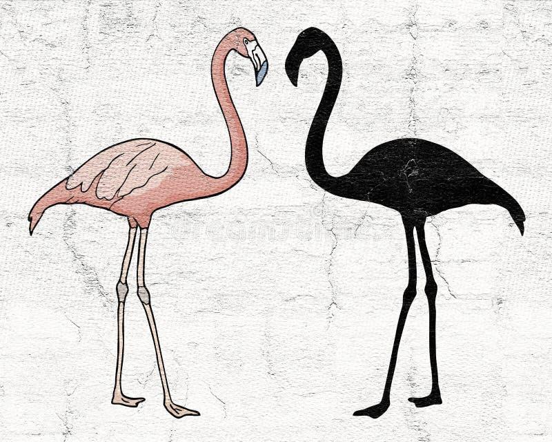 Flamingoschaduw vector illustratie