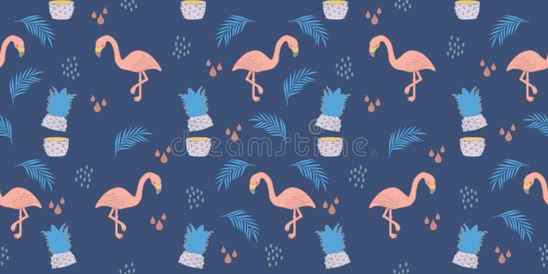 flamingosommarmodell Sömlös teckning för moderiktig exotisk tropisk bakgrund för pastellfärgade färger stock illustrationer