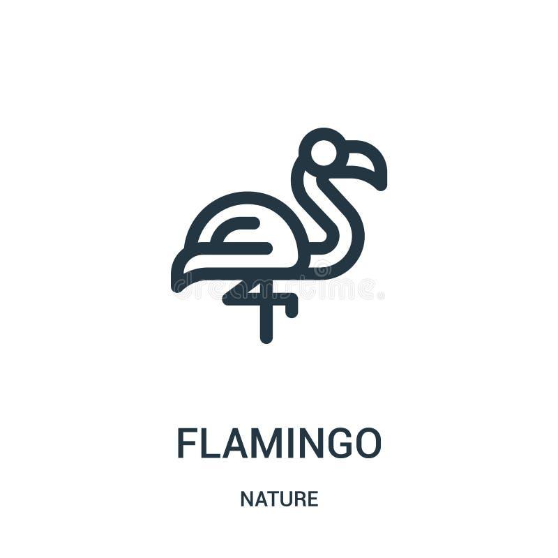 flamingosymbolsvektor från natursamling Tunn linje illustration för vektor för flamingoöversiktssymbol Linjärt symbol för bruk på royaltyfri illustrationer