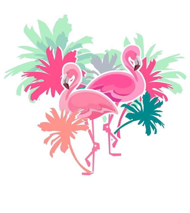 Flamingovektor stock illustrationer