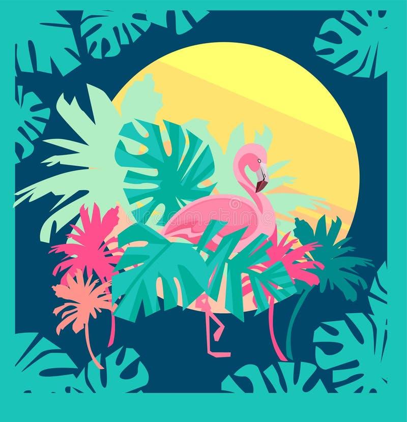 Flamingovektor royaltyfri illustrationer