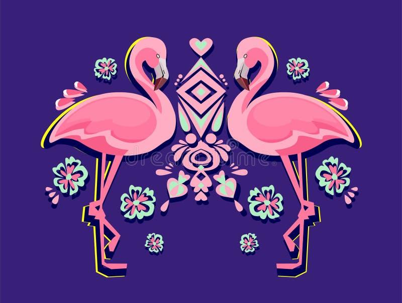 Flamingovektorillustration vektor illustrationer