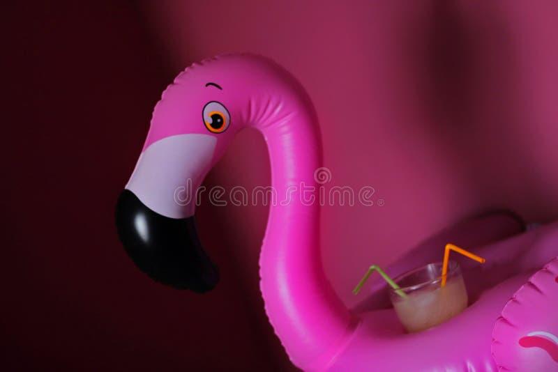 Flamingovlotter met een glas soda op bovenkant stock afbeeldingen
