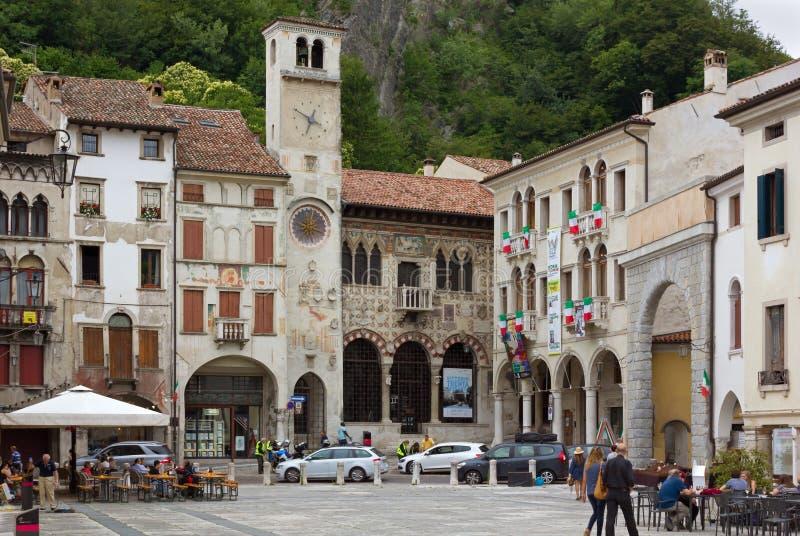 Flaminio Square in the Historic District of Serravalle in Vittorio Veneto royalty free stock images
