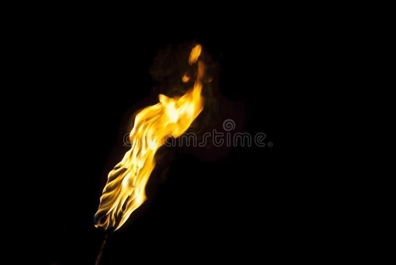 Flamma av en fackla i mörkret royaltyfri foto