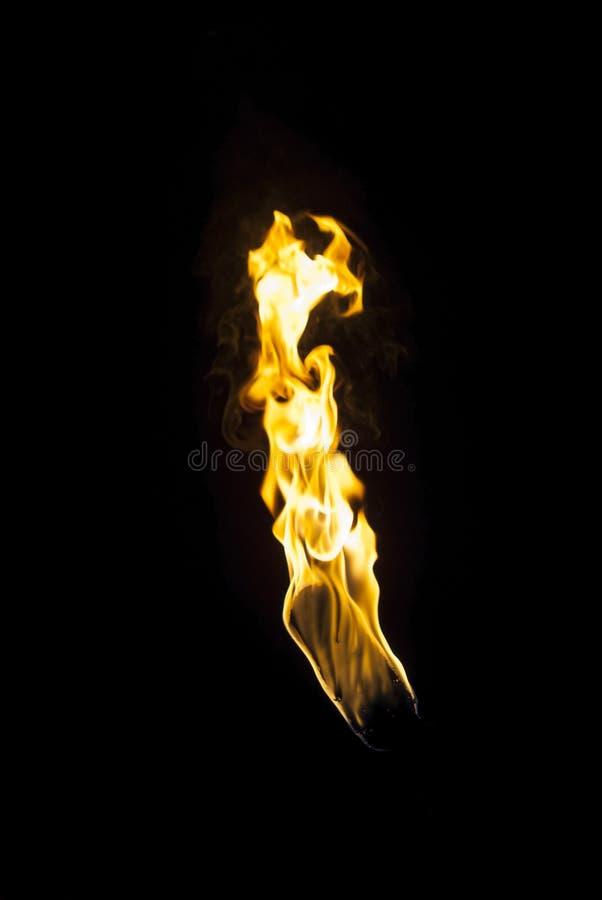 Flamma av en fackla i mörkret royaltyfri bild