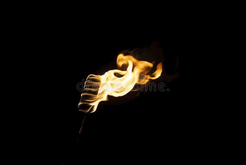 Flamma av en fackla i mörkret fotografering för bildbyråer