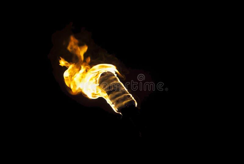 Flamma av en fackla i mörkret royaltyfria foton
