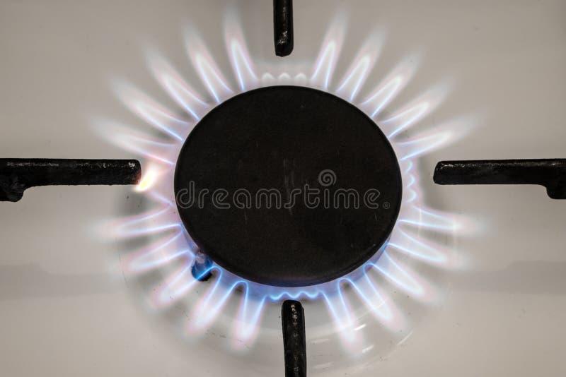 Flamma för gasugn på kök Blå brandflamma från ugnen arkivfoto