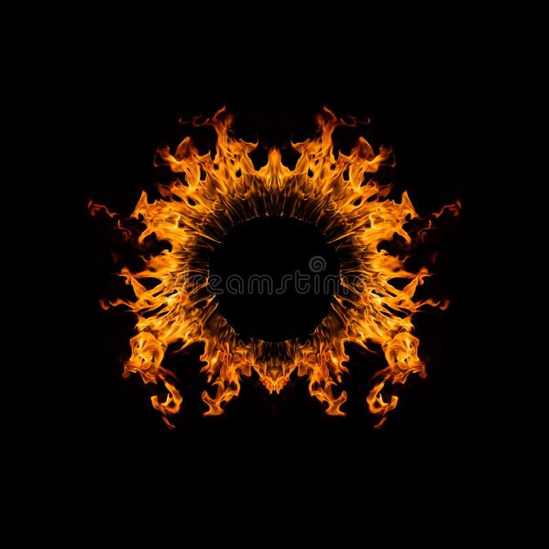Flamma flammacirkeln på svart bakgrund royaltyfri bild