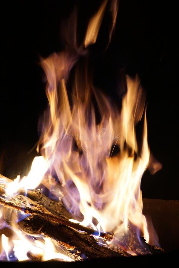 Flamma i formen av en demons framsida Den brännande flamman över trä loggar in svart bakgrund fotografering för bildbyråer