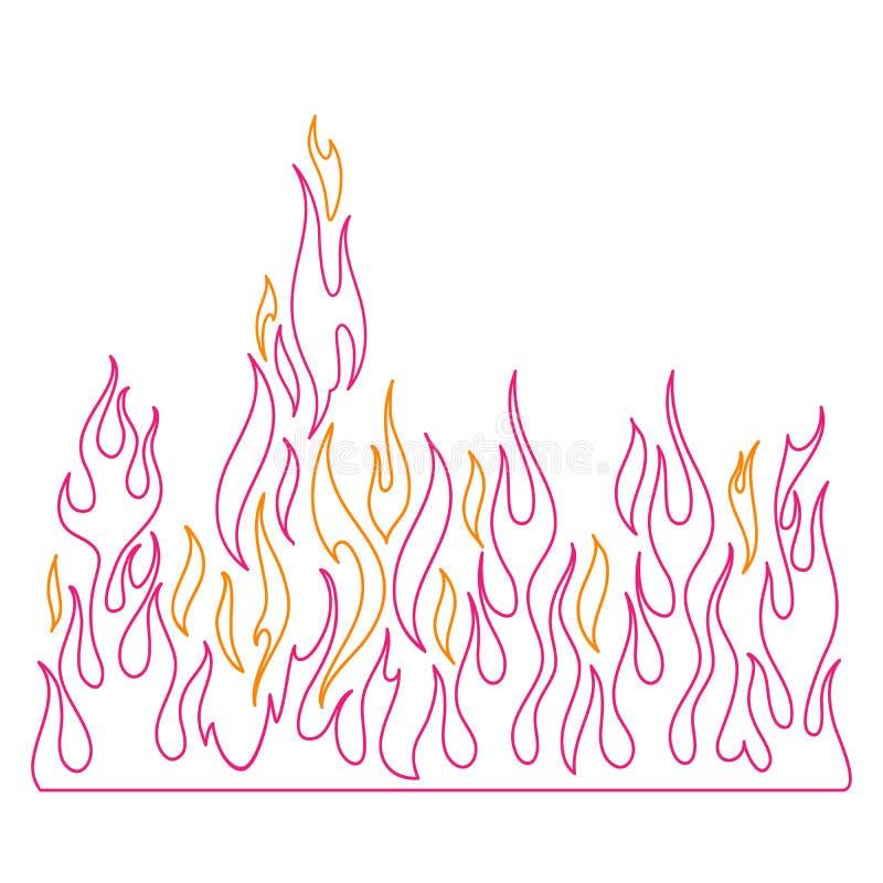Flamma och att bränna brand och flammar vektorillustrationen royaltyfri illustrationer