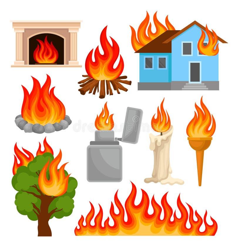 Flamma och brännande objekt uppsättning, källor av illustrationer för brandförökningvektor på en vit bakgrund royaltyfri illustrationer