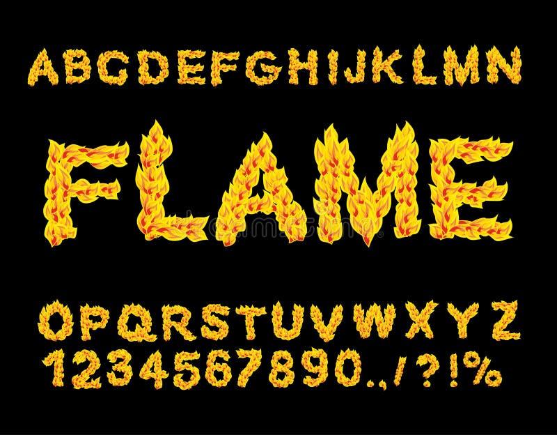 Flammaalfabet Brandstilsort brännheta bokstäver Brinnande abc stock illustrationer