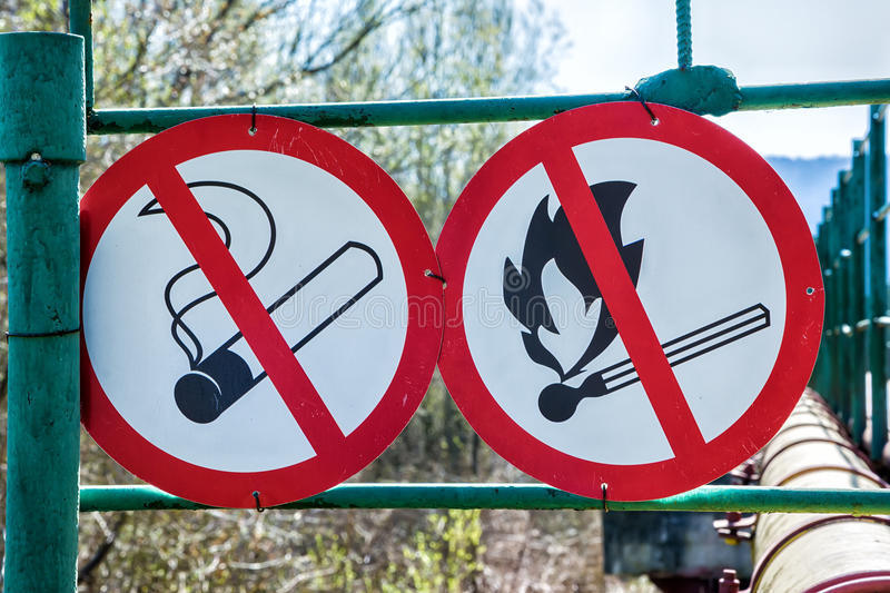 Flammable material warning signs royalty free stock images