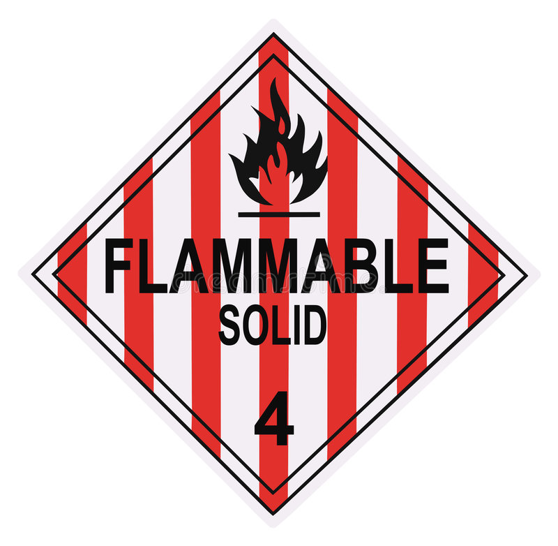 flammable solid If a flammable, water-reactive solid is spilled onto skin, brush off as much as possible, then flush with copious amounts of water.