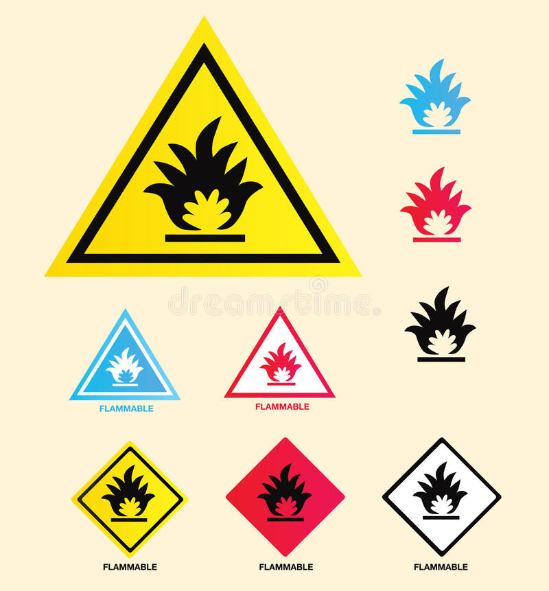 Flammable warning sign stock illustration