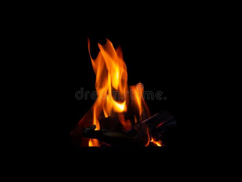 Flammabrasa som göras av vedträslutet som isoleras upp på svart bakgrund royaltyfria foton