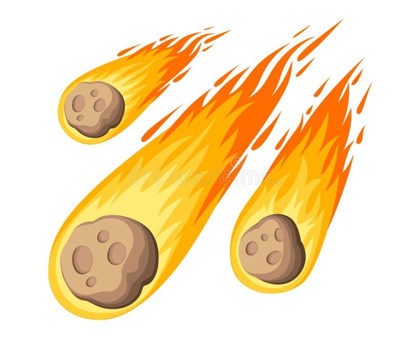 Flammameteorit Meteorregnnedgång på planeten i tecknad filmstil Katastroffärgsymbol Vektorillustration som isoleras på den vita b stock illustrationer