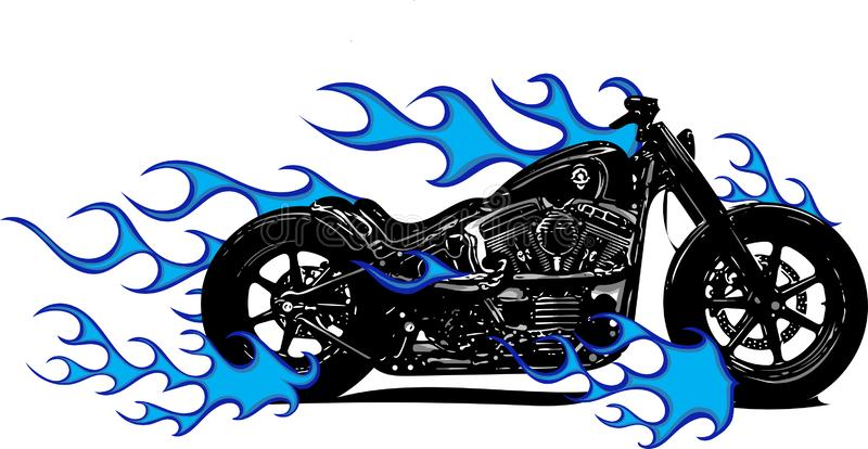 Flammande cykel Chopper Ride Front View för vektorillustration stock illustrationer