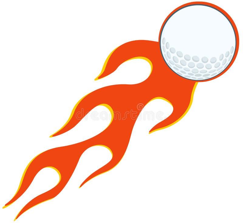 Flammande golfboll stock illustrationer