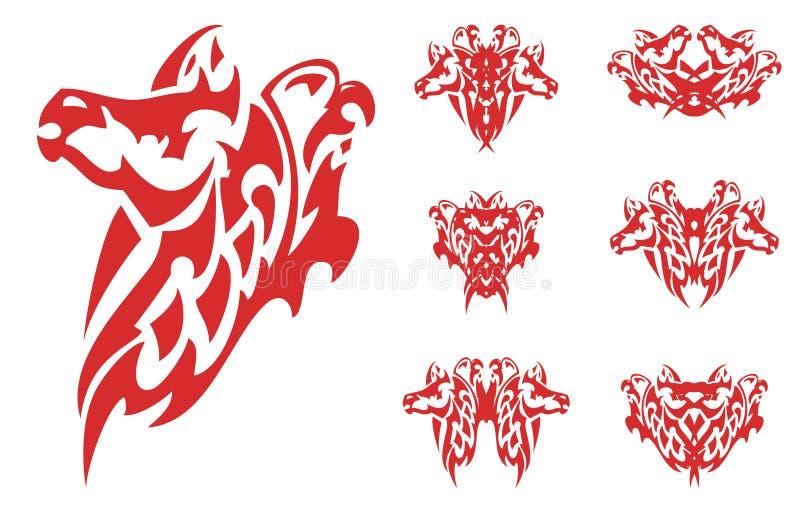 Flammande häst- och örnsymboler stock illustrationer