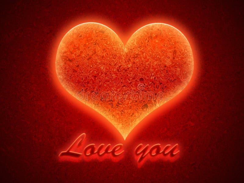 Flammande hjärta arkivbild