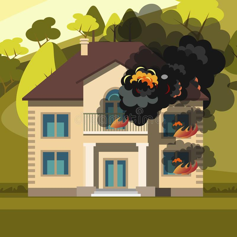 Flammande husbränning med brand royaltyfri illustrationer