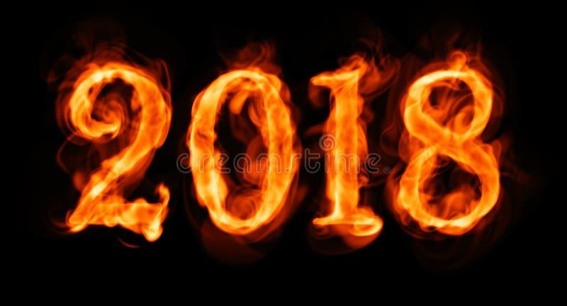 Flammande nummer för nytt år 2018 på svart royaltyfri illustrationer