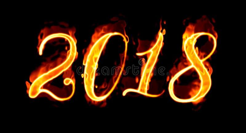 Flammande nummer för nytt år 2018 på svart stock illustrationer